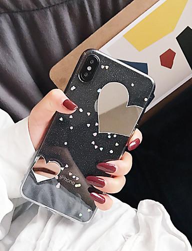 tilfelle for Apple iPhone xs max / iphone 8 pluss gjennomsiktig / speil / støtdempende bakdeksel glitter glans myk tpu for iphone 7/7 pluss / 8/6/6 pluss / xr / x / xs