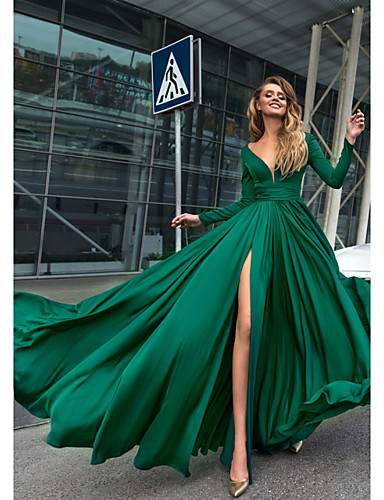 cheap Special Occasion Dresses-A-Line Empire Minimalist Holiday Formal Evening Dress V Neck Long Sleeve Floor Length Chiffon with Split Front 2020