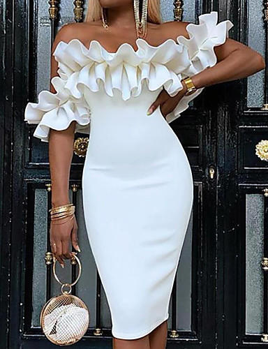cheap Party Dresses-Women's Sheath Dress - Sleeveless Solid Colored Ruched Off Shoulder Off Shoulder Elegant Sexy Cocktail Party Going out Birthday Slim White S M L XL