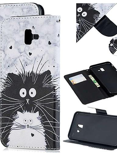 Capinha Para Samsung Galaxy J8 (2018) / J7 (2017) / J6 (2018) Carteira / Porta-Cartão / Antichoque Capa Proteção Completa Gato PU Leather