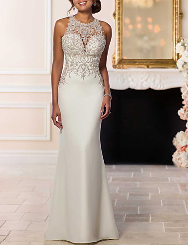 cheap Wedding Dresses-Mermaid / Trumpet Halter Neck Sweep / Brush Train Lace / Satin Strapless Glamorous / Sexy Backless Wedding Dresses with Beading 2020
