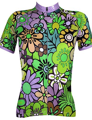 povoljno Odjeća za vožnju biciklom-ILPALADINO Žene Kratkih rukava Biciklistička majica Blue Green + purpurna boja Plava Cvjetni / Botanički Veći konfekcijski brojevi Bicikl Biciklistička majica Majice Brdski biciklizam biciklom na