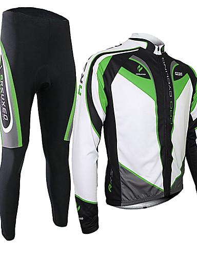 povoljno Odjeća za vožnju biciklom-Arsuxeo Muškarci Dugih rukava Biciklistička majica s tajicama Zelen Crna / crvena Crvena Bicikl Sportska odijela Ugrijati Prozračnost Pad 3D Quick dry Sportski Poliester Spandex Silicon Kolaž Brdski