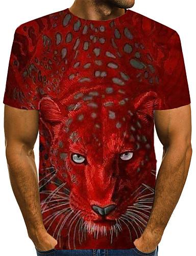 voordelige Uitverkoop-Heren Street chic Print EU / VS maat - T-shirt Club 3D / dier Ronde hals Geel / Korte mouw