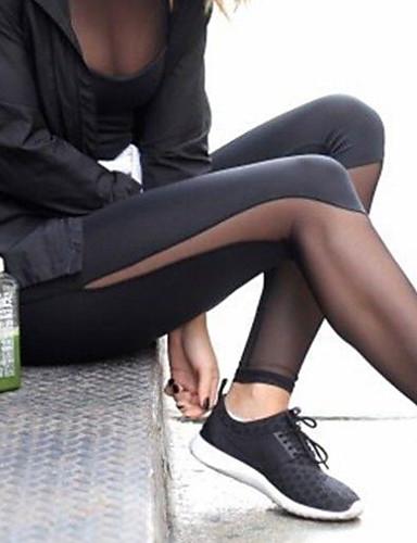 povoljno Odjeća za fitness, trčanje i jogu-Žene Hlače za jogu Jedna barva Mrežica Trčanje Fitness Trening u teretani Tajice Odjeća za rekreaciju Prozračnost Ovlaživanje Quick dry Butt Lift Kontrola trbuščića Slim