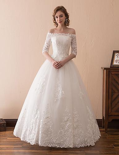 Γραμμή Α Ώμοι Έξω Μάξι Δαντέλα / Τούλι Μισό μανίκι Μικρά Άσπρα Φορέματα Φορέματα γάμου φτιαγμένα στο μέτρο με Διακοσμητικά Επιράμματα / Δαντέλα 2020