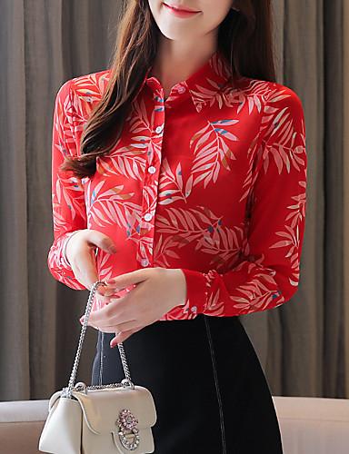 billige Dametopper-Skjortekrage Skjorte Dame - Grafisk, Trykt mønster Vintage Tropisk blad Rød