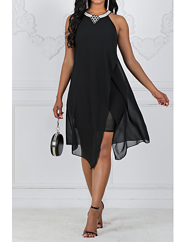 cheap Little Black Dresses-2019 New Arrival Dresses Women's Holiday Casual / Daily Slim A Line Swing Dress Elbise Vestidos Robe Femme Sequins Beaded Chiffon Halter Neck Navy Blue Purple XL XXL XXXL