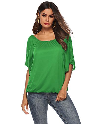 billige Dametopper-Løstsittende T-skjorte Dame - Ensfarget Grunnleggende Blå