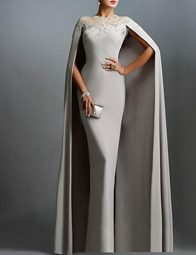 Tubinho Decorado com Bijuteria Cauda Watteeau Chiffon Elegante Evento Formal Vestido 2020 com Aplicação de renda
