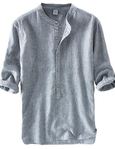 voordelige Uitverkoop-Heren Vintage / Chinoiserie Overhemd Linnen Effen Opstaande boord Marineblauw / Lange mouw