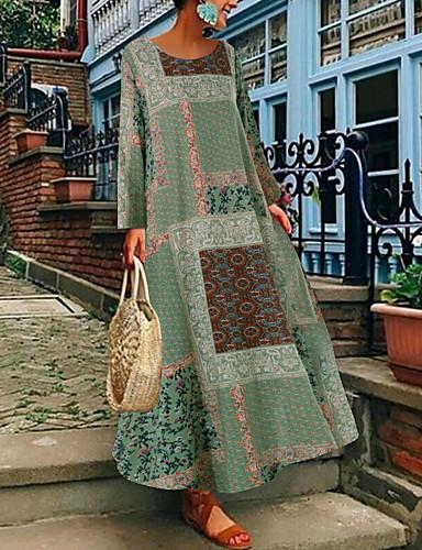 voordelige Maxi-jurken-Dames Boho Chinoiserie Wijd uitlopend Jurk - Bloemen, Print Midi