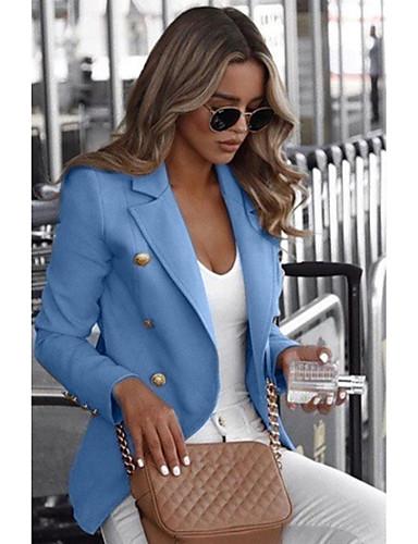 levne Dámské blejzry a bundy-Dámské Denní Standardní Blejzr, Jednobarevné Košilový límec Dlouhý rukáv Polyester Černá / Bílá / Vodní modrá