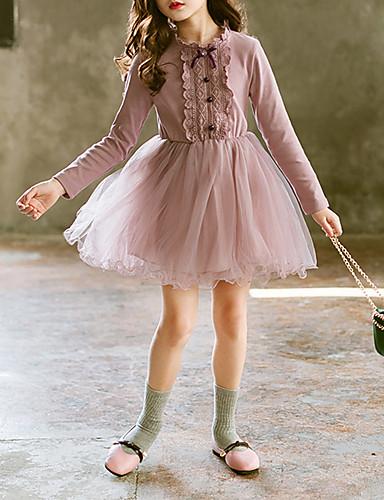 Barn Baby Jente Søt søt stil Dusty Rose Ensfarget Sløyfe Broderi Multi Layer Langermet Knelang Kjole Rosa / Bomull / Netting