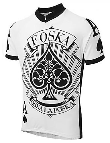 povoljno Odjeća za vožnju biciklom-21Grams Poker Muškarci Kratkih rukava Biciklistička majica - Crno bijela  / Bicikl Biciklistička majica Majice Prozračnost Ovlaživanje Quick dry Sportski Terilen Brdski biciklizam biciklom na cesti