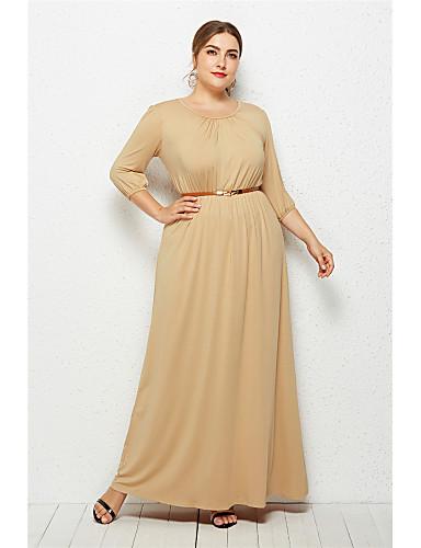 levne Šaty velkých velikostí-Dámské Elegantní Swing Šaty - Jednobarevné Maxi
