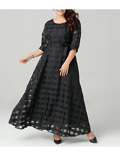 levne Maxi šaty-Dámské Větší velikosti Sofistikované Volné Šaty - Jednobarevné, Vystřižený Maxi
