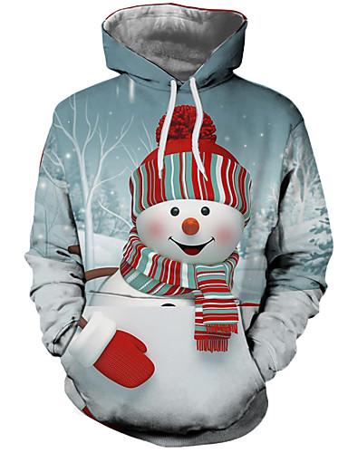 Ανδρικά Καθημερινό / Χριστούγεννα Φούτερ με Κουκούλα - Συνδυασμός Χρωμάτων / 3D / Κινούμενα σχέδια