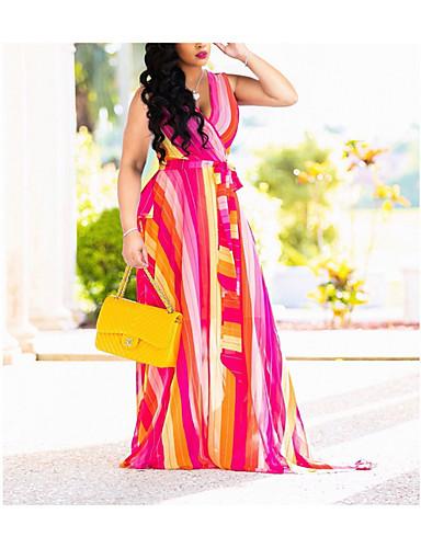 preiswerte Alles für den Sommerurlaub-Damen Grundlegend Swing Kleid - Patchwork, Geometrisch Maxi