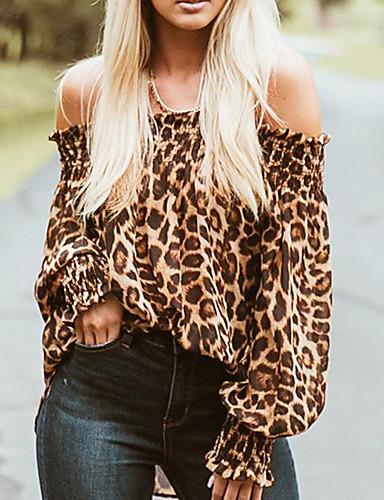 billige T-skjorter til damer-Bomull Løstsittende Løse skuldre T-skjorte Dame - Leopard, Åpen rygg Grunnleggende / Gatemote Ut på byen Brun