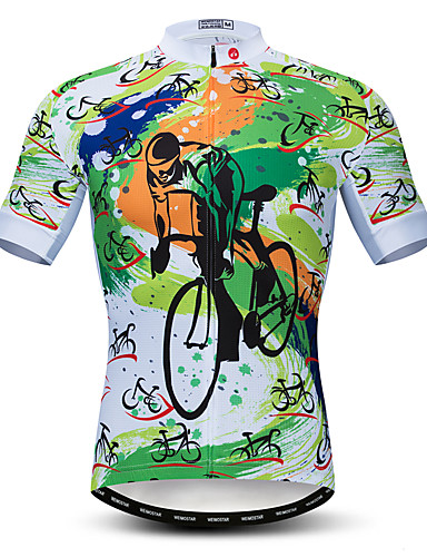 povoljno Odjeća za vožnju biciklom-21Grams Muškarci Kratkih rukava Biciklistička majica Zelen Bicikl Biciklistička majica Majice Brdski biciklizam biciklom na cesti Prozračnost Ovlaživanje Quick dry Sportski Poliester Elastan Terilen