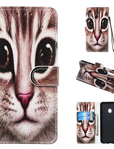 tok Για Samsung Galaxy A5(2018) / A6 (2018) / A6+ (2018) Πορτοφόλι / Θήκη καρτών / με βάση στήριξης Πλήρης Θήκη Γάτα Σκληρή PU δέρμα