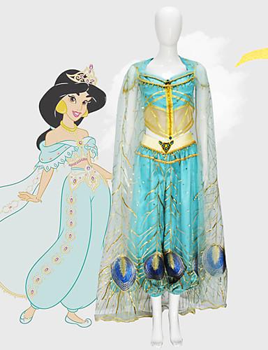 povoljno Maske i kostimi-Aladdin Princess Jasmine Cosplay Nošnje Filmski Cosplay Mesh Mini ja Plava Top Hlače Shawl Dječji dan Maškare Til / Bez rukava