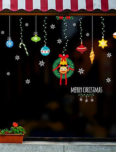 billige Veggklistremerker-juledekorasjoner vindusfilm&amp amp stickers dekorasjon dyr / mønster ferie / karakter / geometrisk PVC (polyvinylklorid) vinduet klistremerke