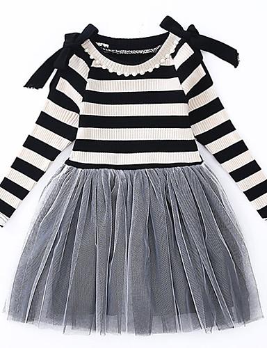 Παιδιά Νήπιο Κοριτσίστικα Γλυκός χαριτωμένο στυλ Μαύρο Άσπρο Ριγέ Συνδυασμός Χρωμάτων Πολυεπίπεδο Δίχτυ Patchwork Μακρυμάνικο Πάνω από το Γόνατο Φόρεμα Λευκό / Βαμβάκι