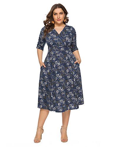 voordelige Grote maten jurken-Dames Standaard A-lijn Jurk - Bloemen, Print Midi