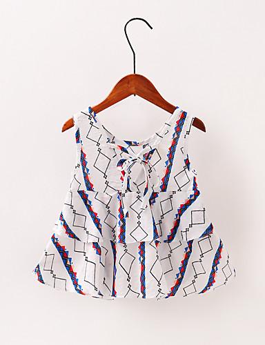 Μωρό Κοριτσίστικα Βασικό Patchwork Με Κορδόνια Αμάνικο Πάνω από το Γόνατο Φόρεμα Λευκό