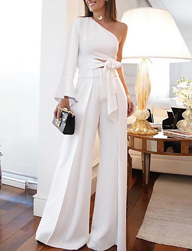 cheap Women's Jumpsuits & Rompers-Women's Off Shoulder White Romper, Solid Colored Fashion / One Shoulder / with Belt M L XL Spring Summer Fall / Winter