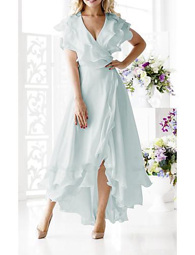 voordelige Maxi-jurken-Dames Grote maten Sexy A-lijn Jurk - Effen, Ruche wrap V-hals Midi