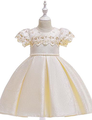 Prinsesse Knelang Blomsterpikekjole - Bomull / Sateng / Tyll Kortermet Besmykket med Perlearbeid / Broderi / Blonder