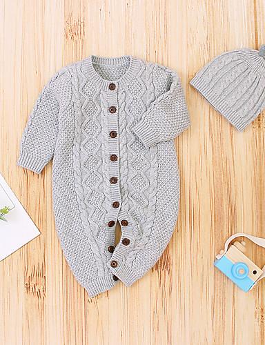 preiswerte Mode für Jungs-2pcs Baby Jungen Grundlegend Jacquard Langarm Einzelteil Weiß