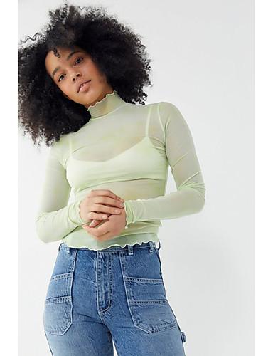 billige Dametopper-T-skjorte Dame - Ensfarget, Lapper Grunnleggende Grønn
