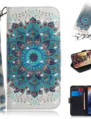 Capinha Para Nokia Nokia 9 PureView Carteira / Porta-Cartão / Antichoque Capa Proteção Completa Penas PU Leather