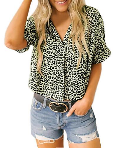 billige Dametopper-Skjortekrage Skjorte Dame - Leopard, Lapper Grunnleggende Ut på byen Regnbue