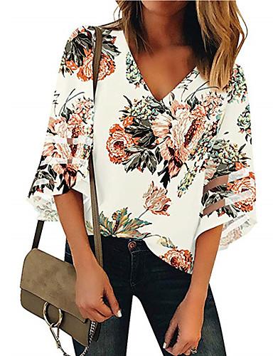 billige Dametopper-Bomull V-hals Skjorte Dame - Blomstret, Lapper Gatemote Hvit