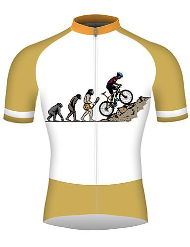povoljno Odjeća za vožnju biciklom-21Grams Muškarci Kratkih rukava Biciklistička majica Orange+White Bicikl Biciklistička majica Majice Prozračnost Quick dry Reflektirajuće trake Sportski 100% poliester Brdski biciklizam biciklom na