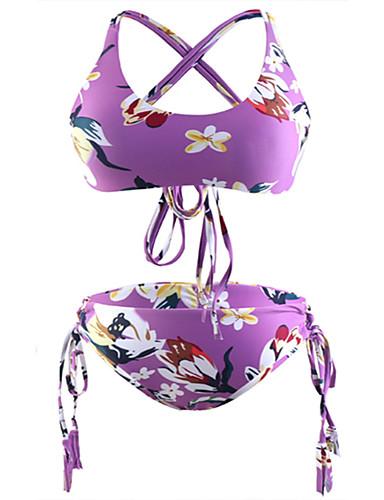 voordelige Nieuwe collectie-Dames Boho Paars Driehoek Cheeky Bikini Zwemkleding - Bloemen Blote rug Print S M L Paars
