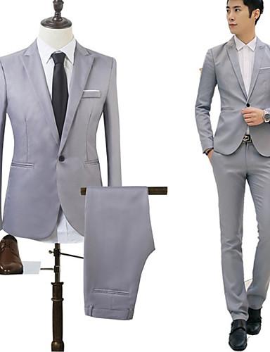 preiswerte Hochzeiten & Feste-Himmelblau / Khaki / Königsblau Solide Reguläre Passform Baumwolle Anzug - Fallendes Revers Einreiher - 1 Knopf