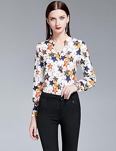 billige Topper til damer-Skjortekrage Skjorte Dame - Galakse, Trykt mønster Elegant Hvit