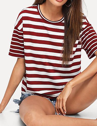 billige Dametopper-Løstsittende T-skjorte Dame - Rutet, Lapper Grunnleggende Svart og hvit Svart