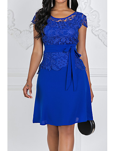preiswerte Versandkostenfrei-Damen Ausgehen Spitze A-Linie Etuikleid Kleid - Spitze, Solide Midi Hohe Taillenlinie