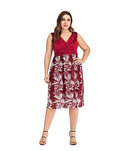 preiswerte Kleider für besondere Anlässe-A-Linie Tiefer Ausschnitt Knie-Länge Chiffon Cocktailparty Kleid mit Muster / Druck durch LAN TING Express