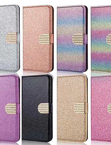 Etui Til Samsung Galaxy A5(2018) / A6 (2018) / A6+ (2018) Lommebok / Kortholder / Støtsikker Heldekkende etui Glimtende Glitter Hard PU Leather