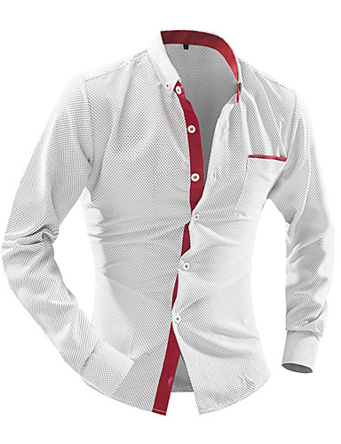 povoljno Bijele košulje-Muškarci Dnevno Majica Jednobojni Dugih rukava Slim Tops Posao Ovratnik s gumbima Obala Tamno plava Plava / Rad
