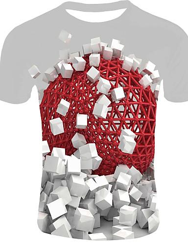 preiswerte 3D-Herrn 3D - Grundlegend EU- / US-Größe T-shirt, Rundhalsausschnitt Rote / Kurzarm