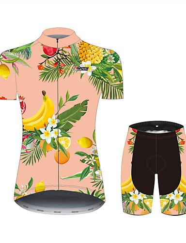 povoljno Odjeća za vožnju biciklom-21Grams Cvjetni / Botanički Voće Havaji Žene Kratkih rukava Biciklistička majica s kratkim hlačama - Pink+Green Bicikl Sportska odijela Prozračnost Ovlaživanje Quick dry Sportski 100% poliester